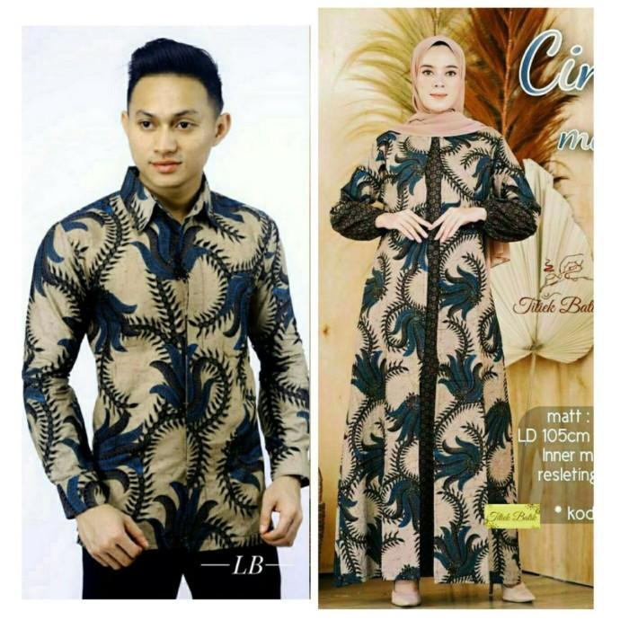 Foto Produk Baju dress gamis cardi ld 120 couple batik sarimbit kemeja pria akar - Biru dari TABASAMA
