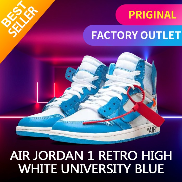 Foto Produk NIKE AIR JORDAN 1 OFF WHITE BLUE UNC original sneakers - 41 dari Mega Sneakers