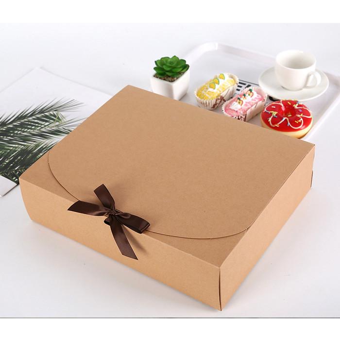 Foto Produk XXL kotak kado pita Kotak baju Kotak sembako Kotak cupcake cookies - Cokelat dari KAYO