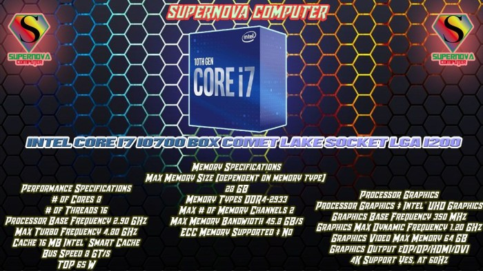 Foto Produk Processor Intel Core I7 10700 Box Comet Lake Socket LGA 1200 Performa dari Supernova Computer Ariet