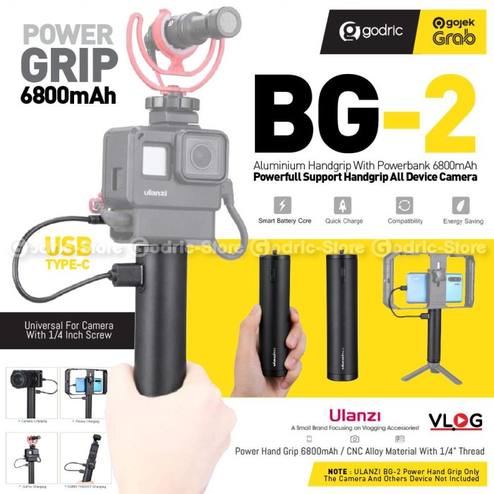 Foto Produk ULANZI BG-2 Hand Grip Power Bank 6800Mah for Action Cam GoPro, HP Etc dari Godric Store