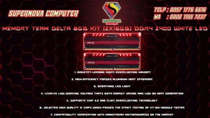 Foto Produk Memory Team Delta 8GB Kit (2x16GB) DDR4 2400 White LED dari Supernova Computer Ariet