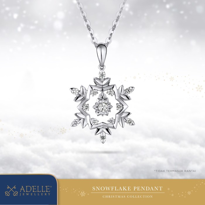 Foto Produk Adelle Jewellery – Snowflake Diamond Pendant – Liontin Berlian - White Gold dari Adelle Jewellery