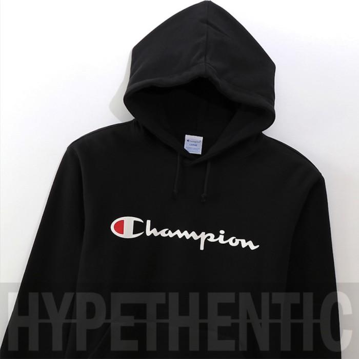 Jual Champion Script Logo Black Hoodie Original