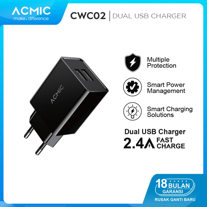 Foto Produk ACMIC CWC02 - Dual USB Wall Charger Adaptor Fast Charge 2.4A dari ACMIC Official Store