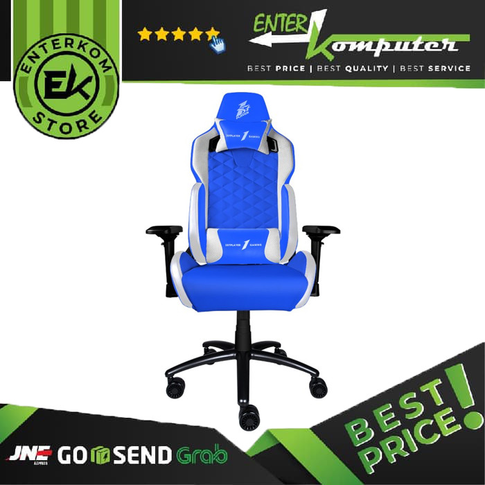 1STPLAYER GAMING CHAIR DK2 - BLUE WHITE - All Steel Skeleton - High Density Integrated Molded Foam