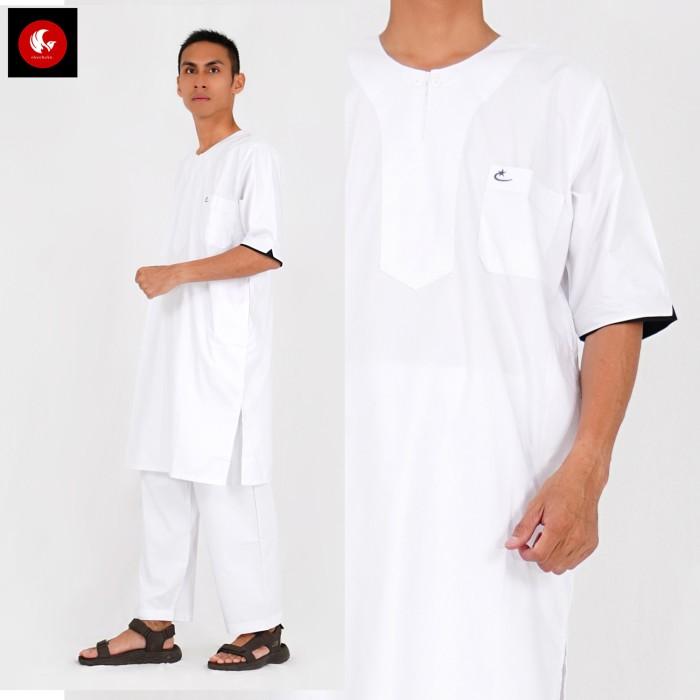 Foto Produk SETELAN Gamis ARABI Pria / Pakaian Muslim Pria Tangan Pendek Al-Isra - Putih, XXL dari Okechuku