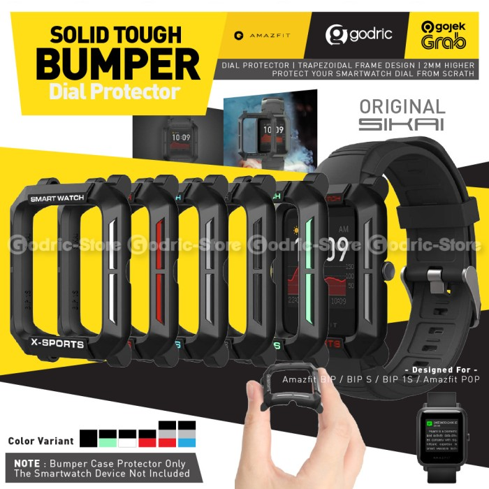 Foto Produk SIKAI SOLID BUMPER DOFF Case Screen Cover Amazfit BIP S 1S LITE POP U - FULL BLACK dari Godric Store