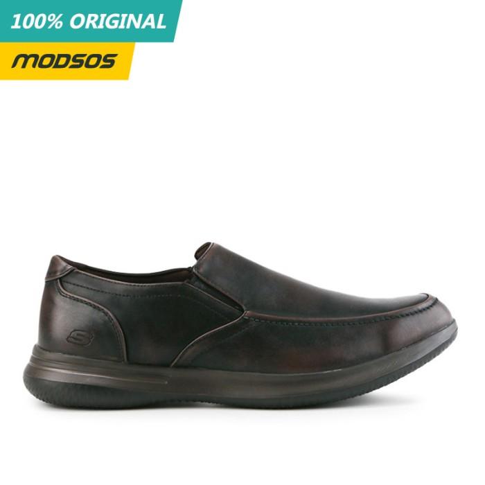 Foto Produk Sepatu Slip On Pria Skechers Usa Leather Brown Original dari Modsos