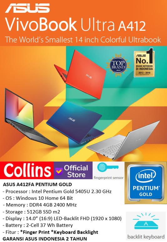 "Foto Produk LAPTOP ASUS A412UA - INTEL PENTIUM 4417U DDR4 4GB SSD 512GB 14"" WIN10 dari Collins Official"