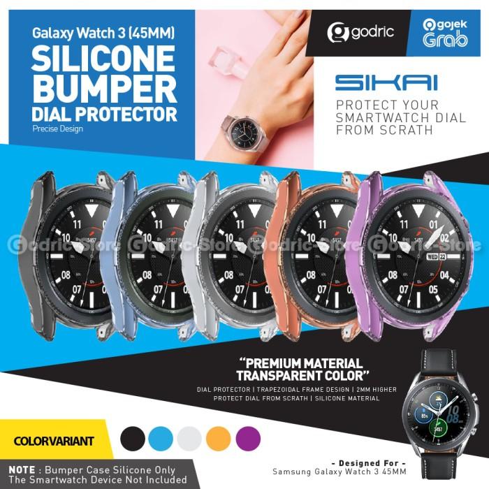 Foto Produk SIKAI Rubber Case TPU Bumper Cover for Samsung Galaxy Watch 3 45MM - BLACK dari Godric Store