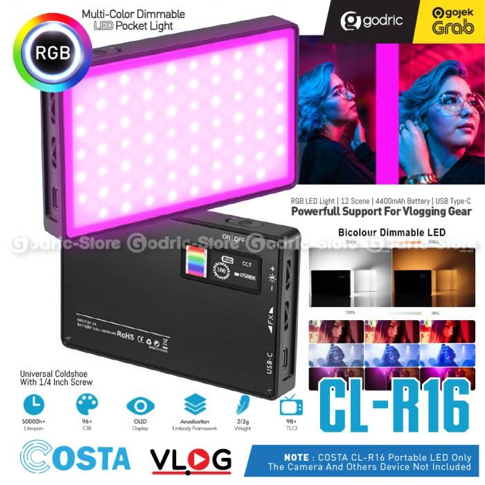 Foto Produk COSTA CL-R16 RGB Pocket Light Compact Video LED 4400MAH 8500K Lampu HP dari Godric Store