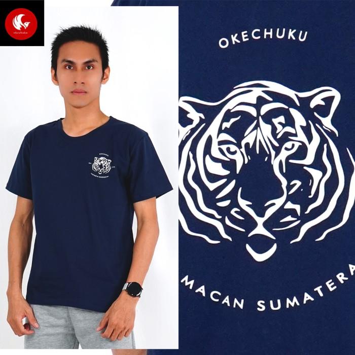Foto Produk Okechuku Kaos Pria TShirt Pria Print MACAN SUMATERA Indonesia Shirts - Navy dari Okechuku