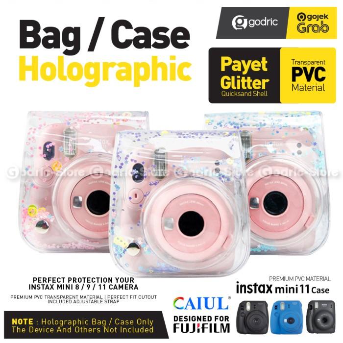 Foto Produk Leather Bag Fujifilm Instax 11 9 8 Tas Holographic Payet Glitter Case - BLUE STAR dari Godric Store