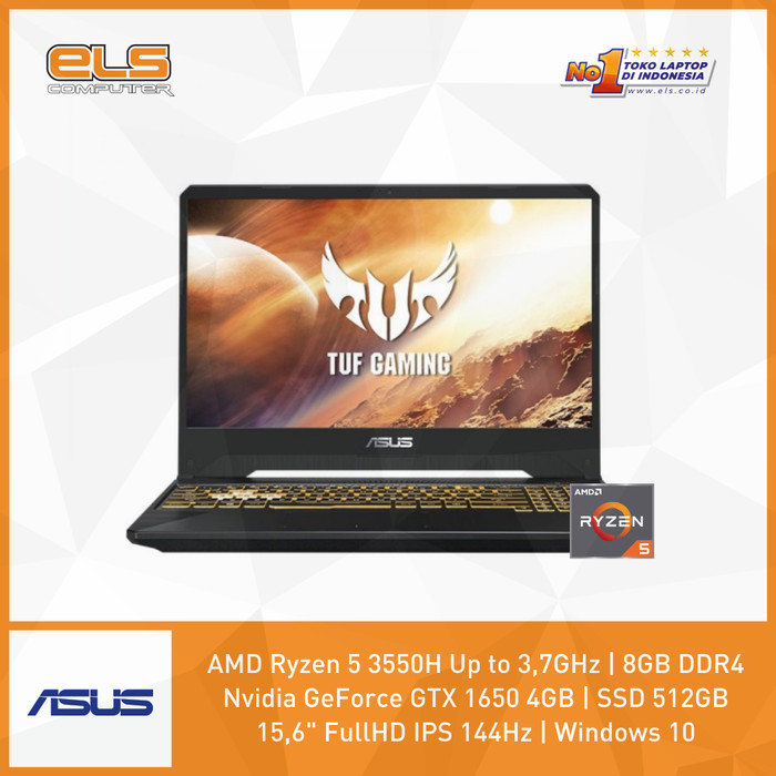 Foto Produk Asus TUF FX505DT-R565B6T - Black [Ryzen5 3550H-8GB-512GB-GTX1650-W10] dari ELS Computer