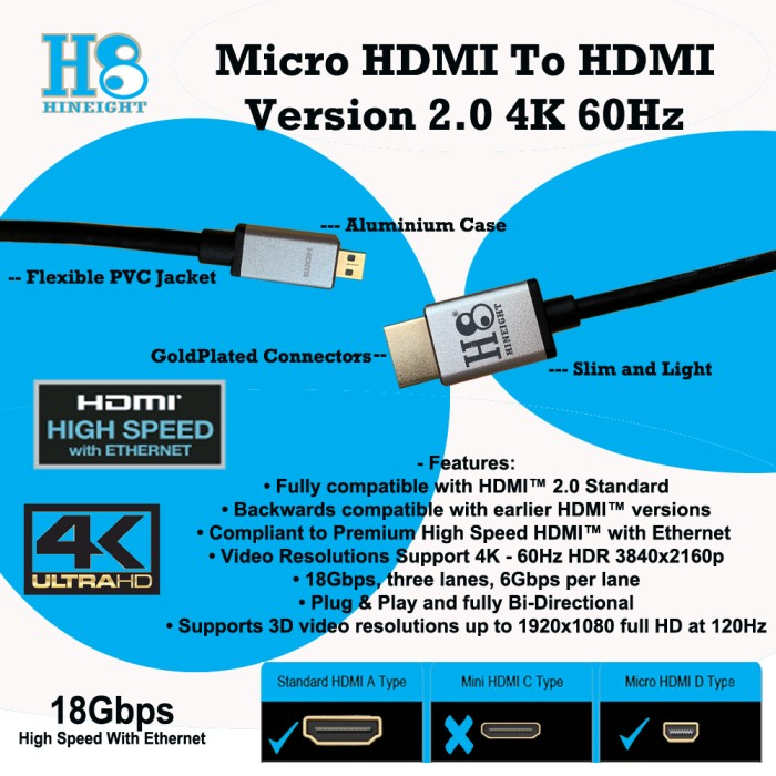 Kabel Micro HDMI To HDMI 1 Meter Versi 2.0 Ultra HD 4K 2160P@ 60Hz HDR (HINEIGHT(H8)) - H8-HD1M