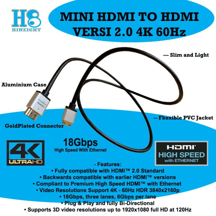 Kabel Mini HDMI To HDMI 1.5 Meter Versi 2.0 Ultra HD 4K 2160P@ 60Hz HDR (HINEIGHT(H8)) - H8-HC15M