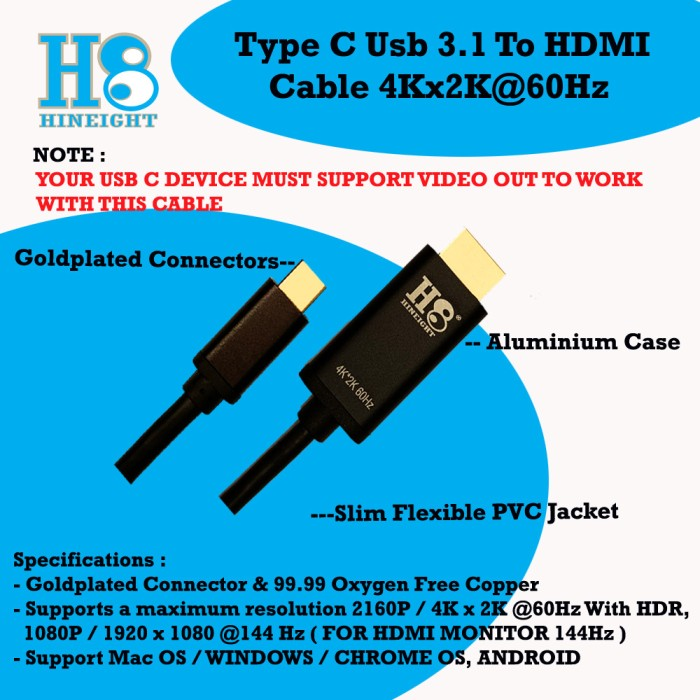 USB Type C 3.1 Thunderbolt To HDMI 2 Meter Versi 2.0 Ultra HD 4K 2160P@ 60Hz HDR (HINEIGHT(H8)) - H8-TCH2M
