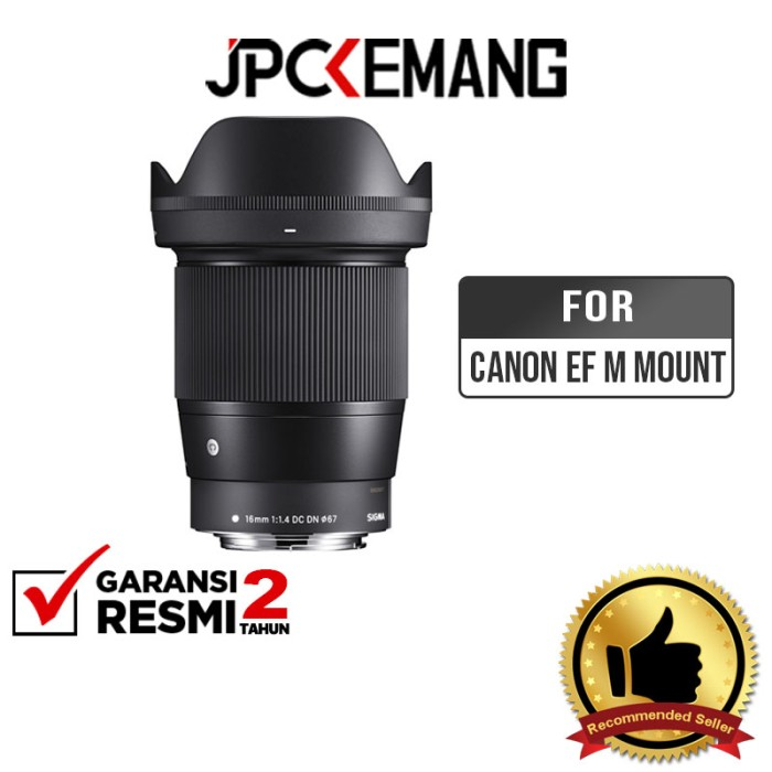 Foto Produk Sigma 16mm F1.4 DC DN Contemporary Lensa Sigma 16mm f/1.4 GARANSIRESMI - For Canon EF-M dari JPCKemang