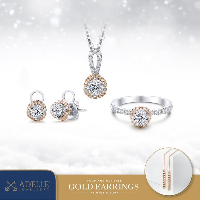 Foto Produk Adelle Jewellery - Love Leaf Set Collection - Set Berlian - Two Tone dari Adelle Jewellery
