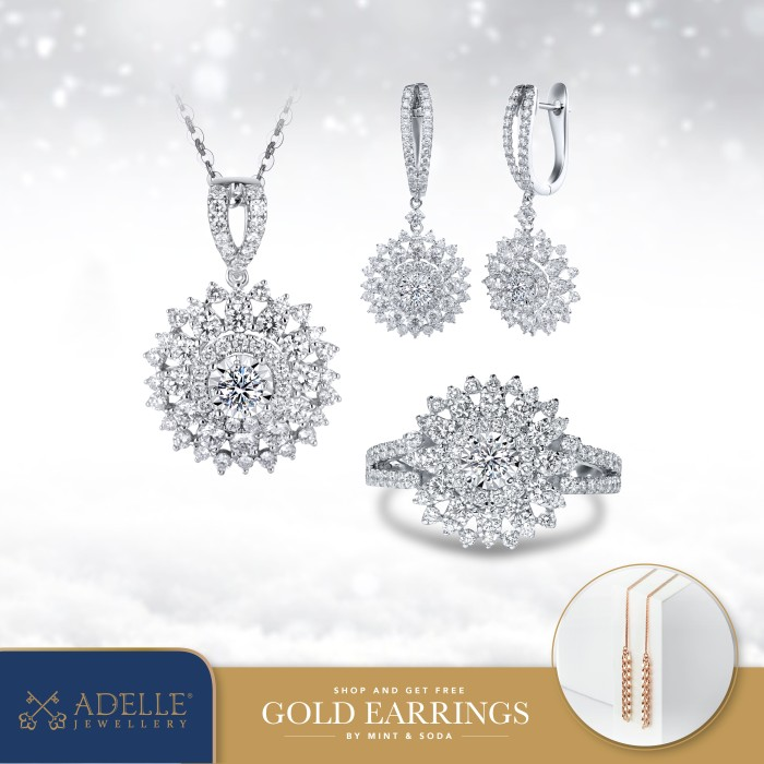 Foto Produk Adelle Jewellery - Chrisantemum Set Collection - Set Berlian - White Gold dari Adelle Jewellery