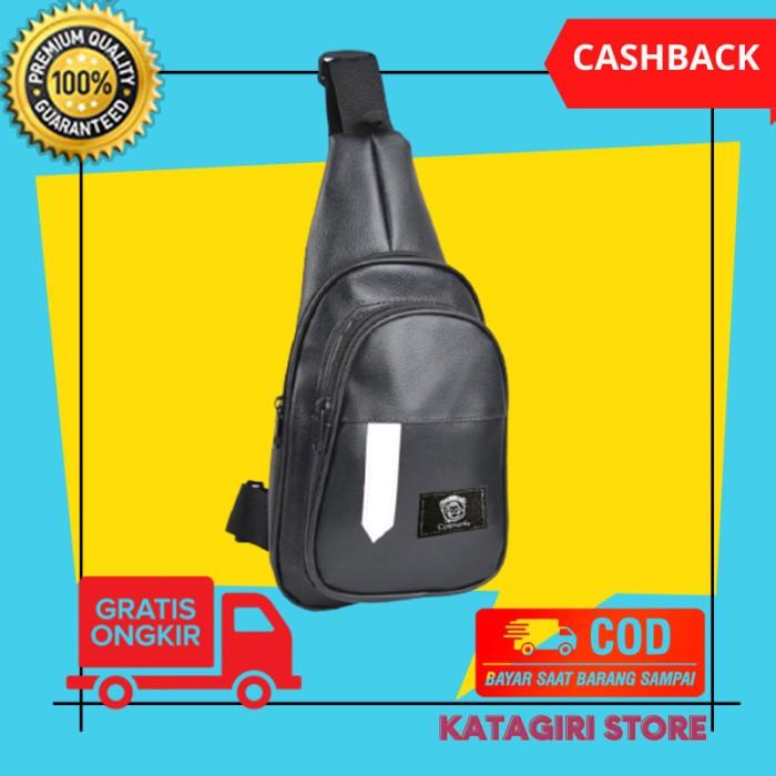 Foto Produk Tas Selempang Sling Bag Kulit Pria Cowok Waterproof Hitam - Young dari Katagiri Store