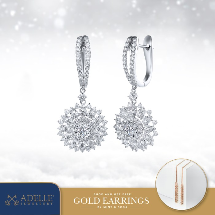 Foto Produk Adelle Jewellery - Chrisantemum Diamond Earrings - Anting Berlian - White Gold dari Adelle Jewellery