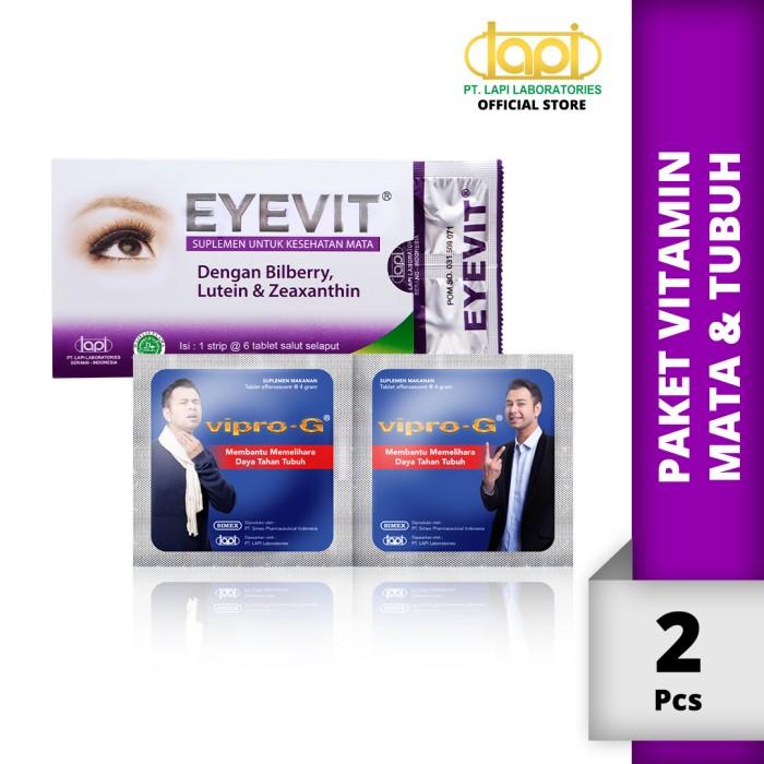 Foto Produk Paket Vitamin Mata & Tubuh - EYEVIT Tablet 1 Strip & VIPRO-G 1 Strip dari Lapi Official Shop