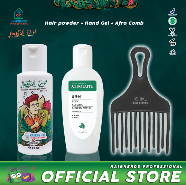 Foto Produk Hairnerds Powder + Hand Sanitizer + Afro Comb/Sisir Rambut Ikal dari Hairnerds Professional