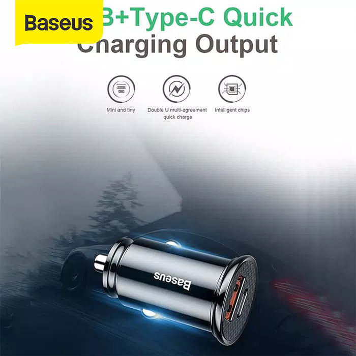 Foto Produk CAR CHARGER BASEUS 30W TYPE-C PD3.0+USB QUICK CHARGE 4.0 - Hitam dari Baseus Official Store