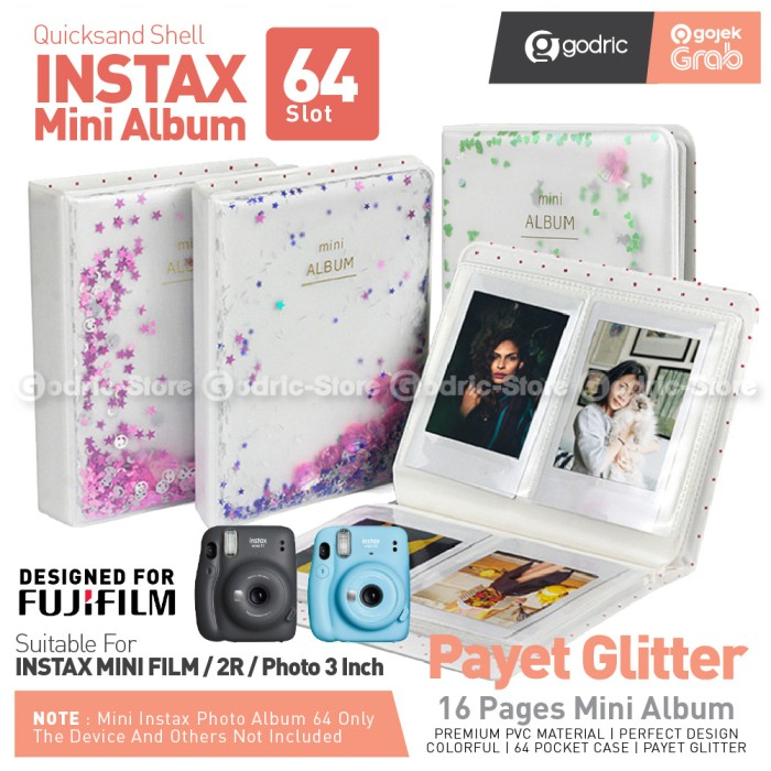 Foto Produk Album PAYET 64 Foto Fujifim Instax Mini Fuji 11 9 8 90 / Photo 2R Etc - BLUE dari Godric Store