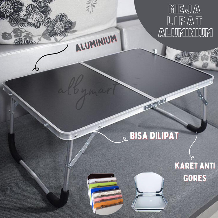 Foto Produk Meja Lantai Lipat Alumunium - Meja Belajar Praktis Serbaguna - Biru Muda dari cabokimurah