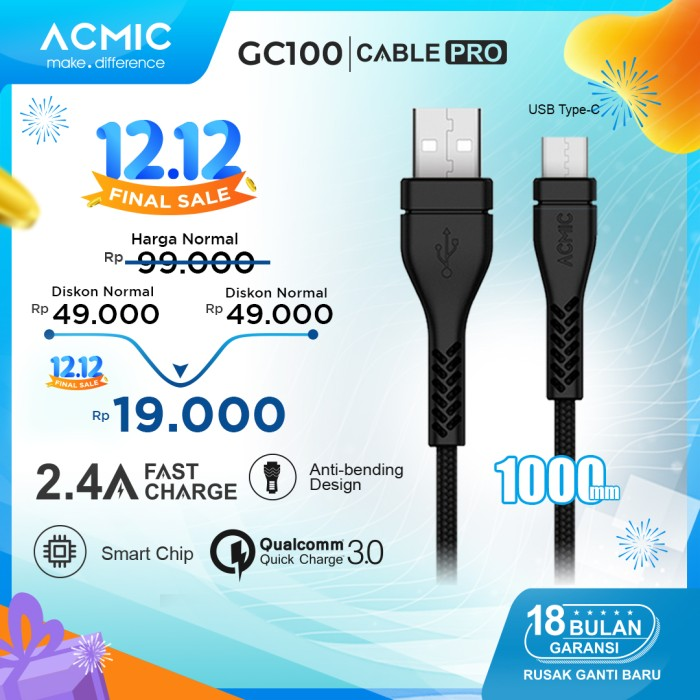 Foto Produk ACMIC GC100 Kabel Data Charger USB Type C 100cm Fast Charging Cable - Hitam dari ACMIC Official Store