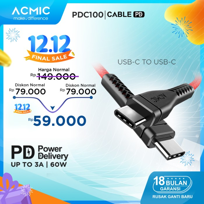 Foto Produk ACMIC PDC100 Power Delivery (PD) 100cm Cable USB Type C to USB Type C - Merah dari ACMIC Official Store