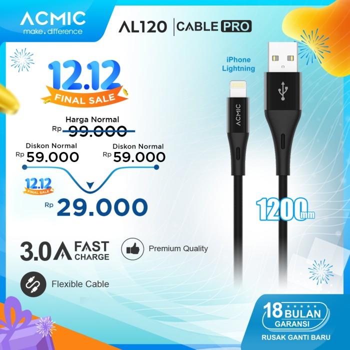 Foto Produk ACMIC AL120 Kabel Data Charger iPhone Lightning Fast Charging Cable - Hitam dari ACMIC Official Store