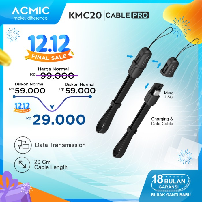 Foto Produk ACMIC KMC20 Kabel Data Charger 20cm Micro USB Fast Charging Cable - Hitam dari ACMIC Official Store