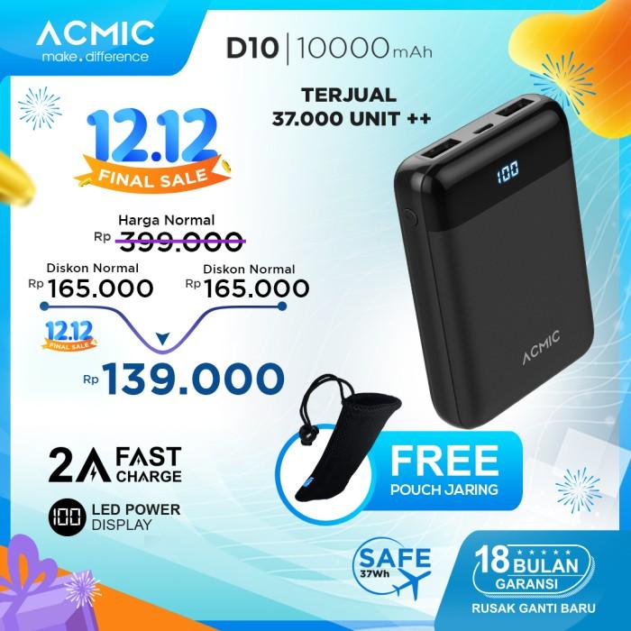 Foto Produk ACMIC D10 10000mAh Mini PowerBank (Digital Display + 2A Fast Charge) - Tanpa Kabel dari ACMIC Official Store