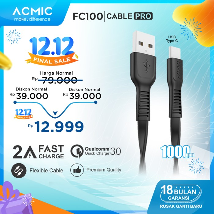 Foto Produk ACMIC FC100 Kabel Data Charger USB Type C 100cm Fast Charging Cable - Hitam dari ACMIC Official Store