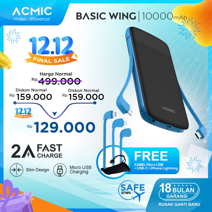 Foto Produk ACMIC Basic Wing 10000mAh PowerBank with Triple 2A Fast Charge - Black Blue dari ACMIC Official Store