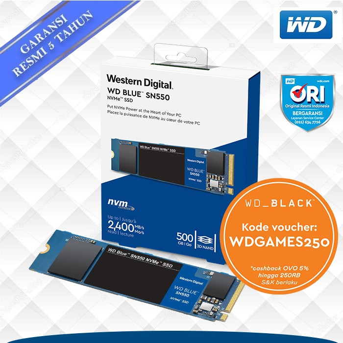 Foto Produk Promo SSD WD Blue 500GB SN550 M.2 NVMe dari WD Official Store