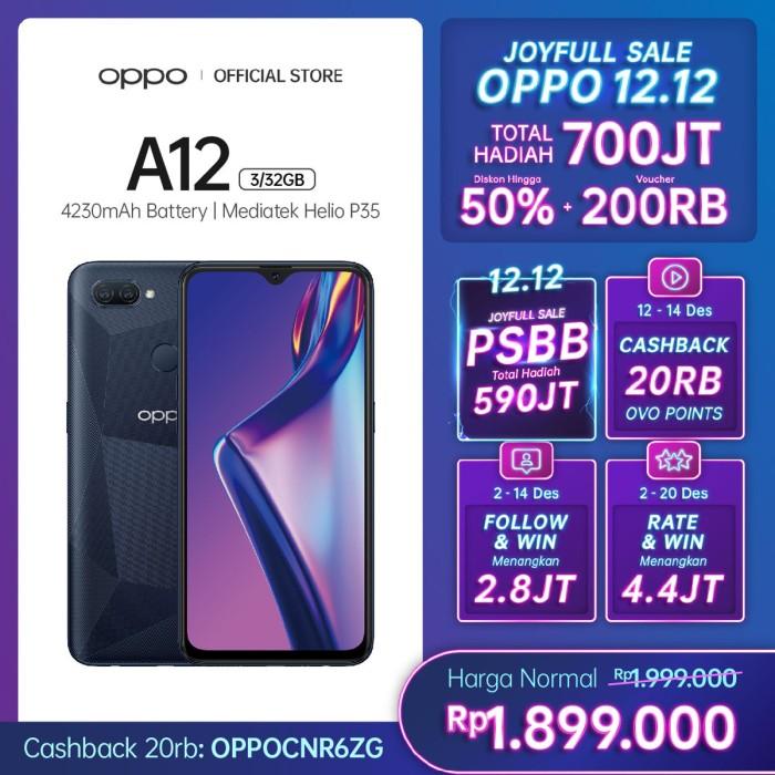 Foto Produk OPPO A12 Smartphone 3GB/32GB (Garansi Resmi) - Hitam dari OPPO OFFICIAL STORE