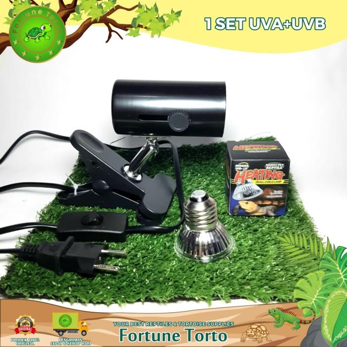Foto Produk 1 set UVA+UVB+Lampu penghangat sulcata iguana kucing-Fiting Keramik dari Fortune Torto