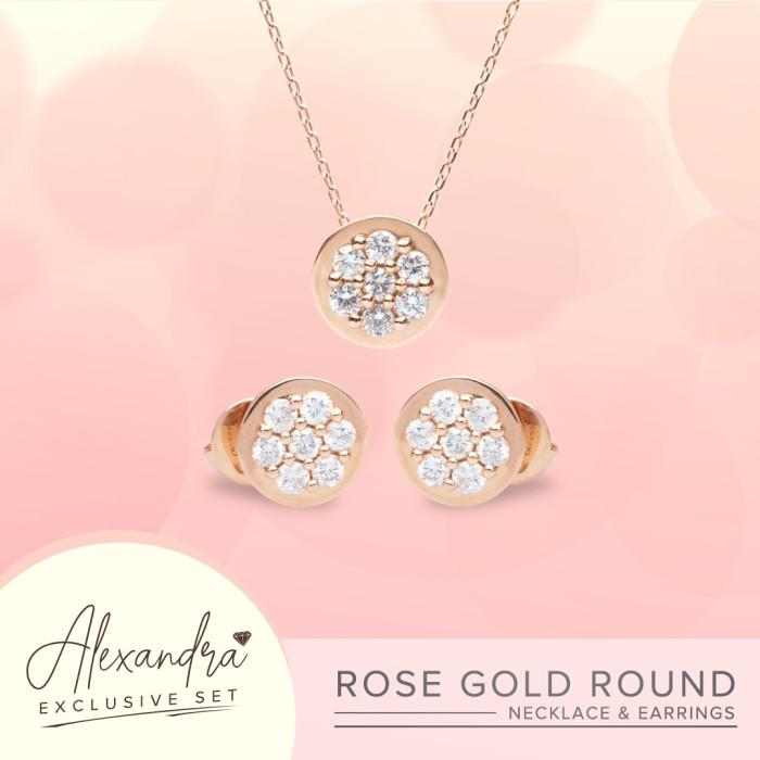Jual Alexandra Exclusive Diamond Set Rose Gold Round Necklace Earrings Jakarta Utara Blingbling Jewellery Tokopedia