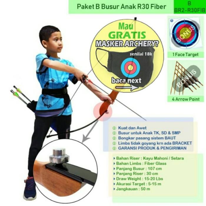 Foto Produk PAKET B BUSUR PANAH ANAK FIBER R30 Baut + FACE TARGET + ARROW dari Vision Archery Club