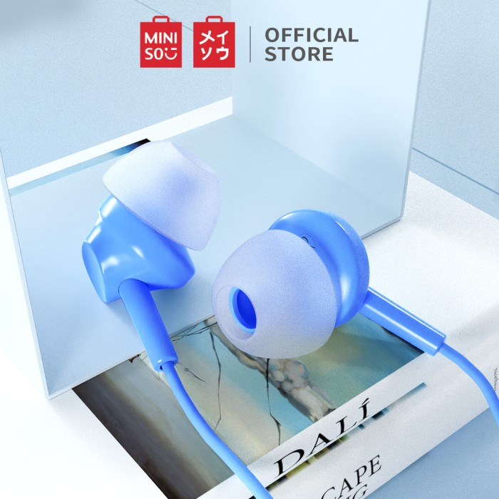 Foto Produk MINISO Earphone Headset Earbud Headphone In-Ear Mic Peredam Bising - Biru dari Miniso Indonesia