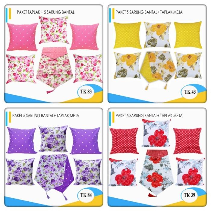 Foto Produk Paket Taplak + Sarung Bantal Sofa 5 pcs 50 x 50 dari pondok aren shop