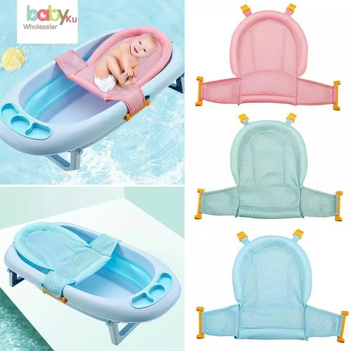 Foto Produk jaring bak mandi bayi anti tenggelam anti slip / baby bath helper - Merah Muda dari BABYKU WHOLESALER