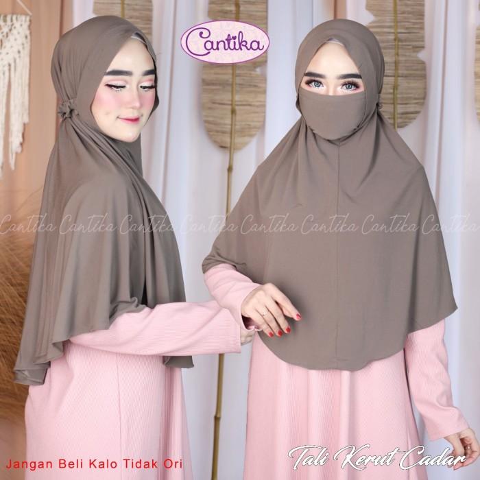 Jual Jilbab Khimar Tali Kerut Cadar Ori Cantika Kota Tangerang Selatan Nizam Hijab Tokopedia