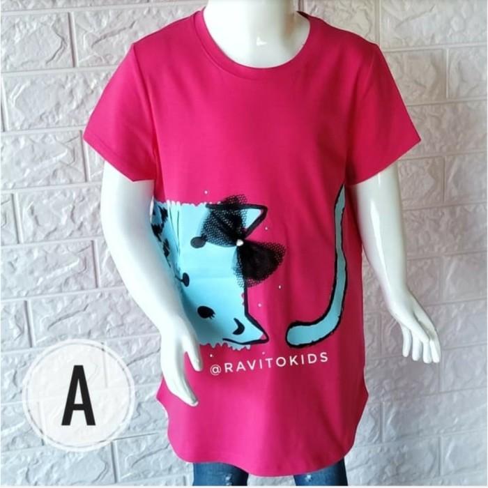 Foto Produk (10-12T) Kaos Anak Perempuan Branded Original Wonder Nation L - L 10 Tahun, Pink Cat dari Ravito Kids