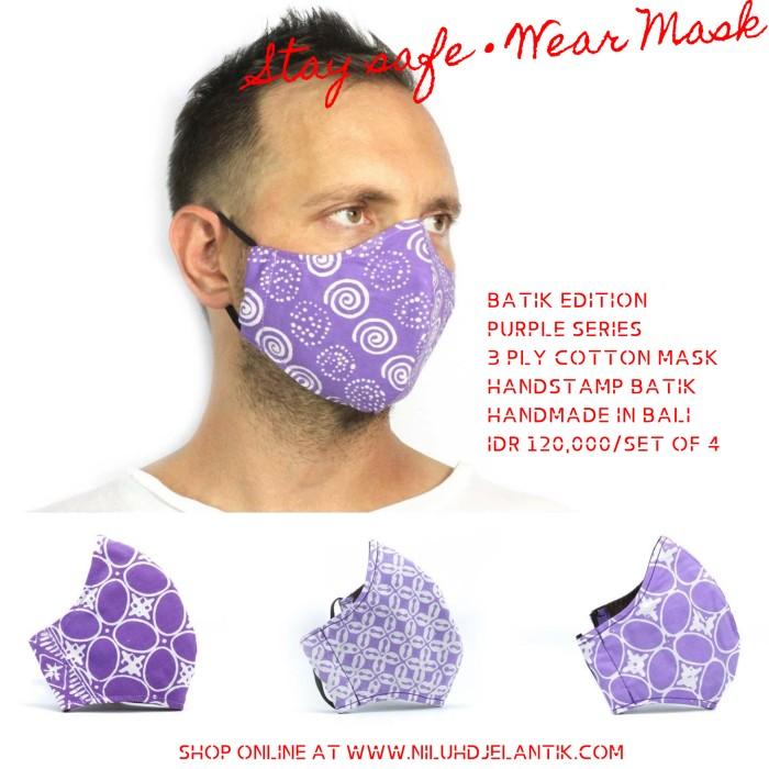 Foto Produk NILUH DJELANTIK Masker Kain 3 Ply Katun Batik Cap PURPLE SERIES dari NILUHDJELANTIK